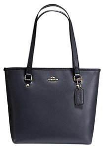 Coach Crossgrain Leather Top Zip F36632 36632 Tote in Midnight Blue