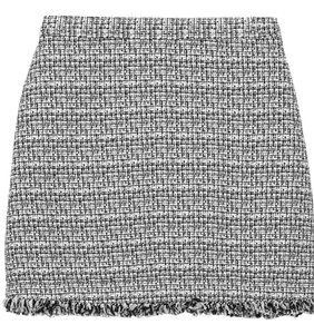 Alice + Olivia Frayed Tweed Mini Blogger Mini Skirt Black, White