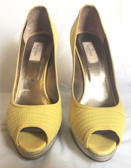 Valentino Peep-toe Spring Casual Pop Of Color yellow Pumps Image 1