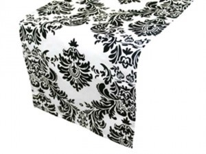 Black/White Damask Table Runners Lot Reception Decoration