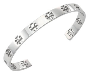 Tory Burch New Tory Burch Pierced T-Cuff Logo Silver Stackable Narrow Bracelet