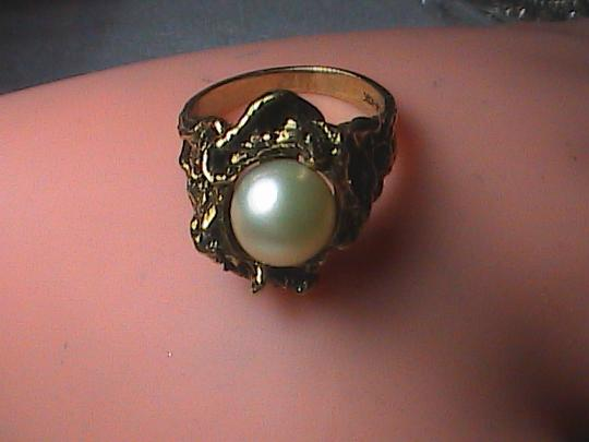 Vintage 10k Yellow Gold Cultured Pearl Nugget Ring