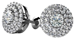 Avi and Co 0.64 cttw Round Brilliant Cut Diamond Double Halo Stud Earrings 14K White Gold