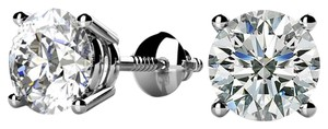 Avi and Co 0.75 cttw Round Brilliant Diamond Screw Back Stud Earrings F-G/VS 14K White Gold