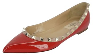 Valentino 0511610 New With Defects Red/nude Ballet Red Flats