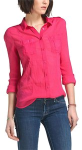 Anthropologie Bright Gauzy Semi-sheer Cool For Summer Button Down Shirt Pink