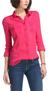 Anthropologie Bright Pink Gauzy Semi-sheer Cool For Summer Button Down Shirt NWT Pink