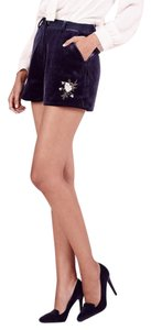 LC Lauren Conrad Velvet Evening Embroidered Dress Shorts Blue