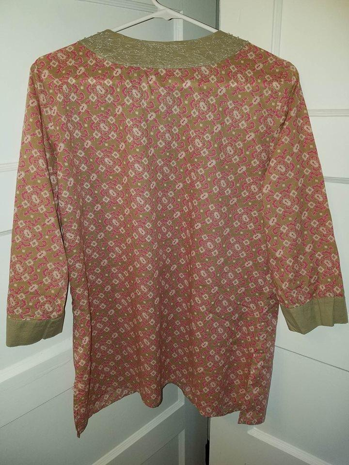 Style Co Taupe Pink New York Company 3 4 Sleeve Taupe Pink Cotton