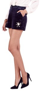 LC Lauren Conrad Velvet Evening Embroidered Limited Edition Plus-size Dress Shorts Blue