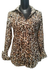 Tory Burch Blouse Tunic Leopard Print Cheetah Print Shirt Button Down Shirt