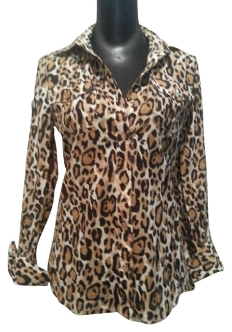 Item - Brown and Black Animal Print Button-down Top Size 4 (S)