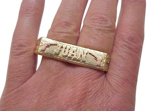 Estate Vintage Solid 14K Yellow and Pink Gold Two Finger Double Bar Mens Ring Custom Made