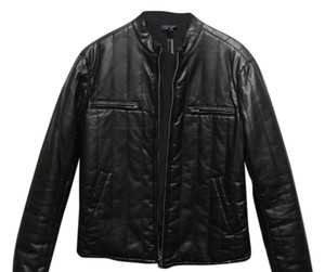 Armani Jeans Aj Men Leather Blakc Leahter Military Jacket