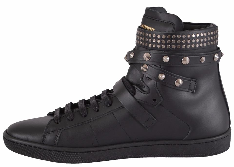 121eca84f5 Saint Laurent Black Yves Ysl Women's Studded Court Classic High Top  Sneakers Size US 8.5 Regular (M, B) 57% off retail