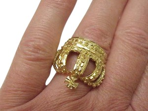 Estate Vintage 10k Yellow Gold Ornate Custom made Royal Crown Mens Ring