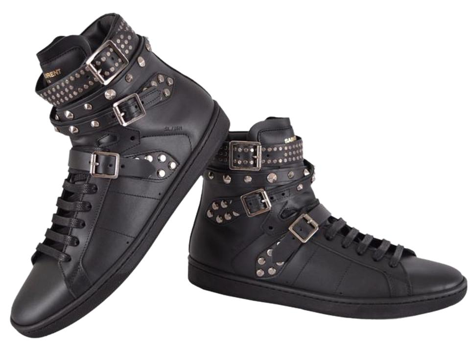 703a338a105 Saint Laurent Black New Yves Ysl Studded Court Classic 39.5 Sneakers ...
