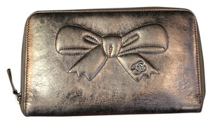 Chanel Chanel Vintage Metallic Leather Wallet with Bow