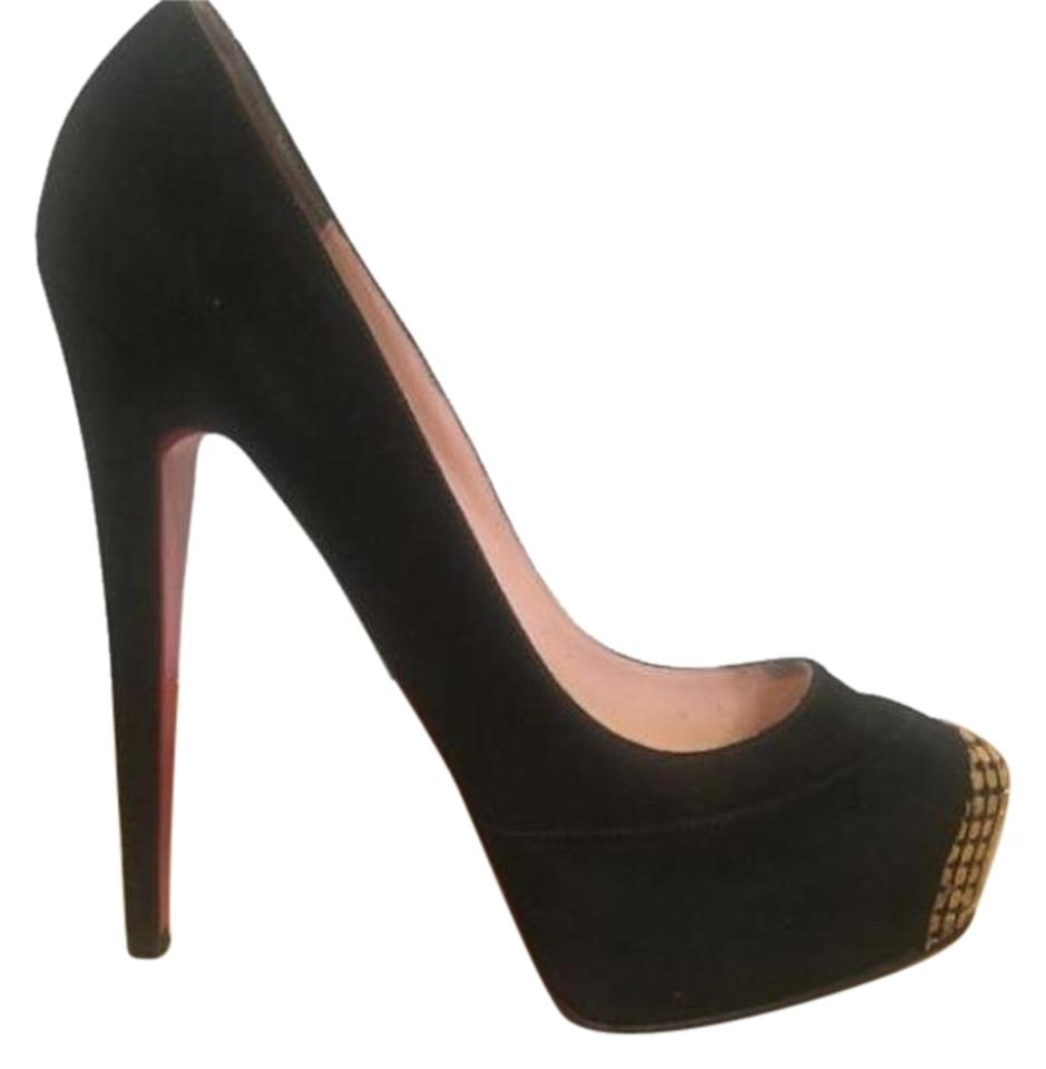 watch fcc08 c08c8 Christian Louboutin Black and Gold 140 Red Bottoms Platforms Size US 9  Regular (M, B) 59% off retail
