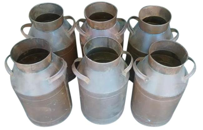 Brown 6 New Metal Pottery with Handles Brown 6 New Metal Pottery with Handles Image 1