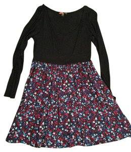 Forever 21 short dress Black with Pink & Blue Floral on Tradesy