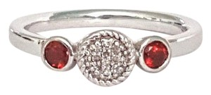 Genuine Garnet & Diamond Sterling Silver Ring Size 8