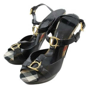 Burberry Sandals Leather Wedge Black Pumps