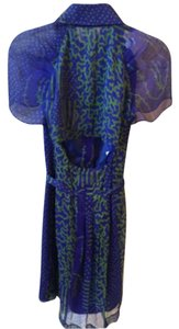 Philosophy di Alberta Ferretti short dress blue and green Silk Open Back on Tradesy