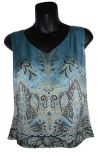 Tahari Silk Sleeveless Paisley Top Blue
