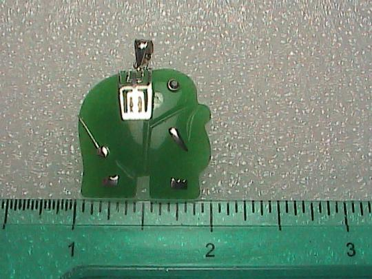 Unknown Sterling Silver Green Jade Elephant Pendant
