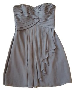 David's Bridal F14847 Bridesmaids Charcoal Gray Dress