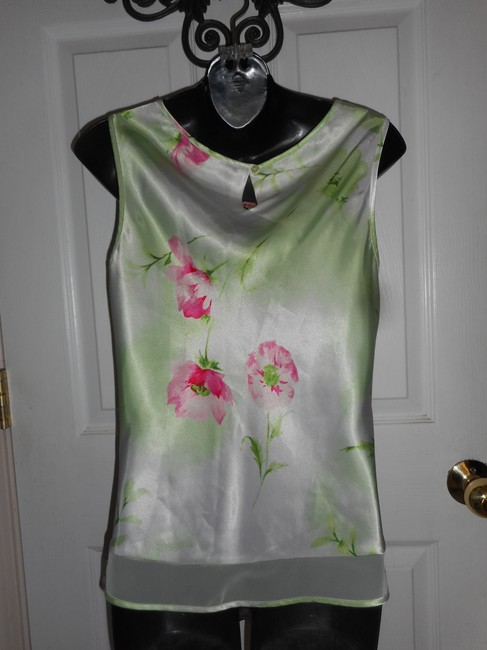 Jones New York Sleeveless Floral Top Green Image 3