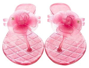 Chanel Jelly Glitter Hardware Pink, Gold Sandals