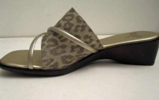 Other Animal Print/Gold Wedge Made In Italy Gold and Beige Sandals