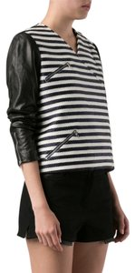 Jenni Kayne Striped Leather Biker black Jacket