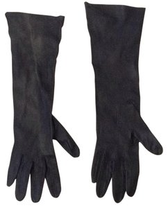 Long Black Fitted Leather Gloves
