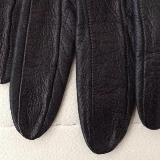 Other Long Black Fitted Leather Gloves Image 2