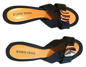 Ramon Tenza Black with tortoise shell design Sandals