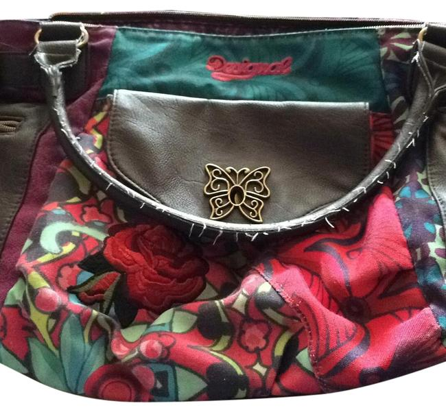 Item - Multicolor Red and Green Floral Canvas Faux Leather Shoulder Bag