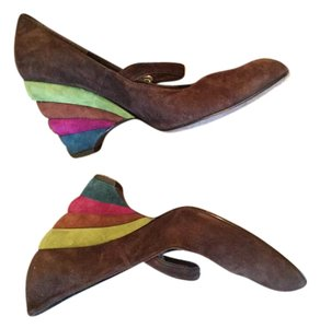 Ramon Tenza Brown suede with multi 4 color heel in suede Pumps