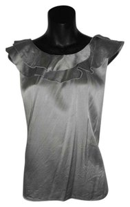 Ann Taylor Satin Ruffle Silk Top Grey