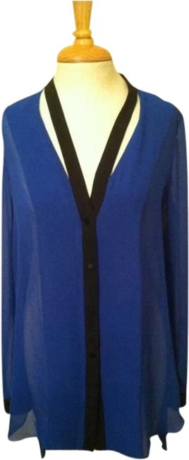 FATE Cutout Sheer Dressy Anthropologie Tunic Long Sleeve Top blue