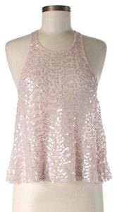 Free People Cropped Sequin Racer-back Top Pink