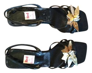 Ramon Tenza Black with multi metallic flower Sandals