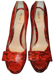 Fendi Orange SnakeSkin Platforms
