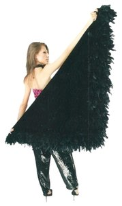 With Love Ari New Black Silk Velvet Triangular Shawl w/Black Feather @ hemline