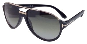 Tom Ford New TOM FORD Sunglasses DIMITRY TF 334 01P 59-14 Black & Gold Frame w/Green Lenses