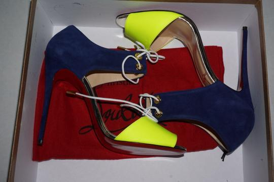 Christian Louboutin Red Bottoms Blue, Yellow Sandals
