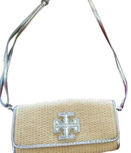 Tory Burch Satchel in Beige Silver