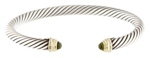 David Yurman Sterling silver David Yurman faceted peridot Cable Classics cuff bangle